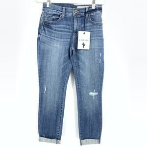 Pistola High Rise Raw Hem Cuffed Jeans Distressed